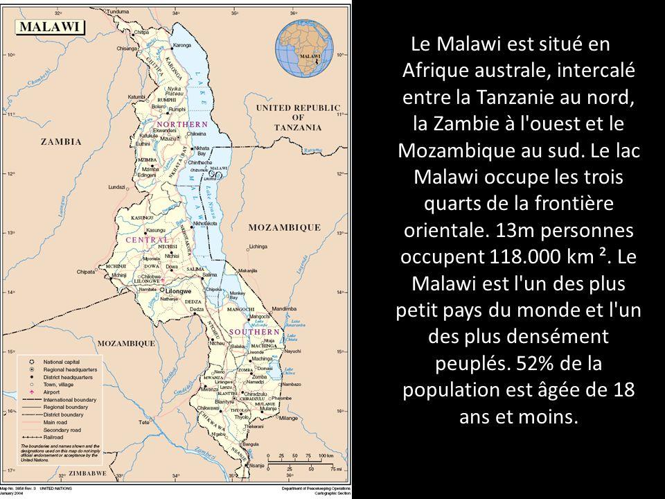 Le Malawi est situé en Afrique australe, intercalé entre la Tanzanie au nord, la Zambie à l'ouest et le Mozambique au sud. Le lac Malawi occupe les tr