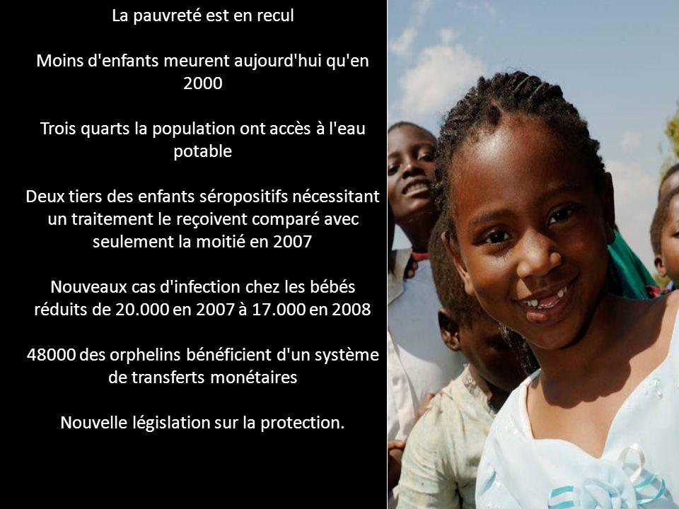 La pauvreté est en recul Moins d'enfants meurent aujourd'hui qu'en 2000 Trois quarts la population ont accès à l'eau potable Deux tiers des enfants sé