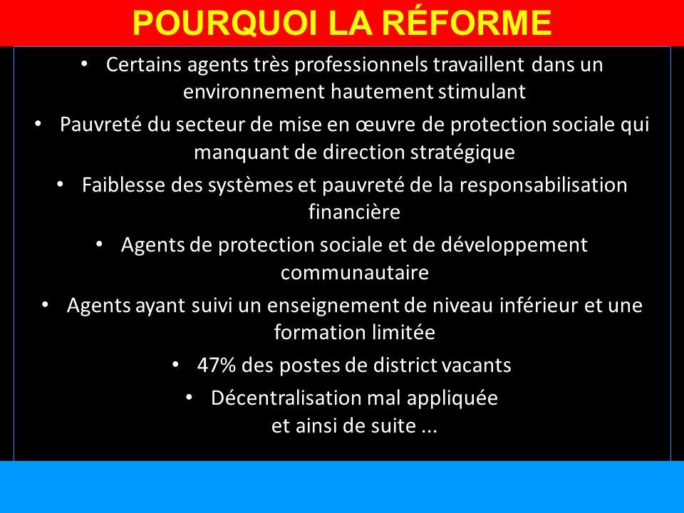 Certains agents très professionnels travaillent dans un environnement hautement stimulant Pauvreté du secteur de mise en œuvre de protection sociale q