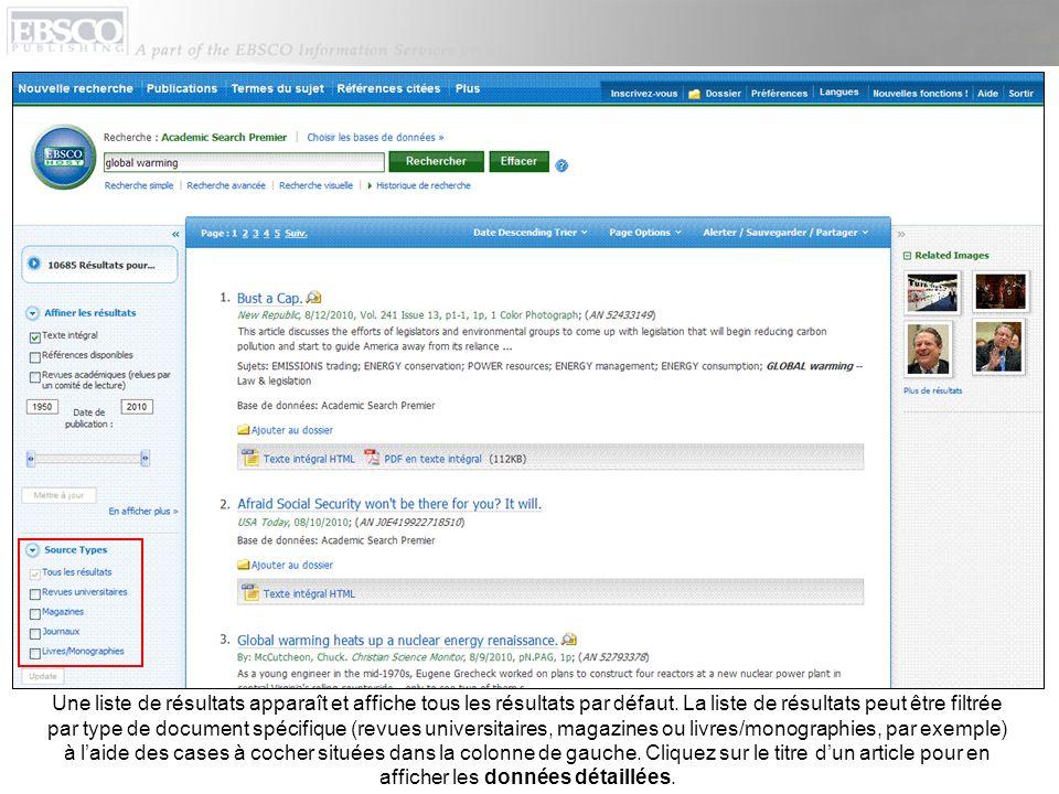 Dans la colonne de gauche, vous pouvez accéder à toutes les versions disponibles de lélément affiché (y compris les versions HTML ou PDF en texte intégral).