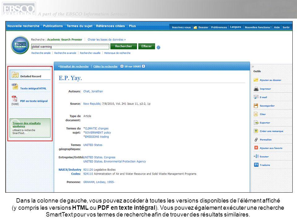 Dans la colonne de gauche, vous pouvez accéder à toutes les versions disponibles de lélément affiché (y compris les versions HTML ou PDF en texte inté