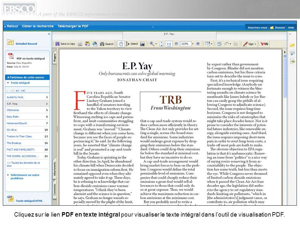 Vous pouvez revenir à la liste de résultats, affiner votre recherche ou télécharger le PDF en cliquant sur les liens en haut de loutil de visualisation.