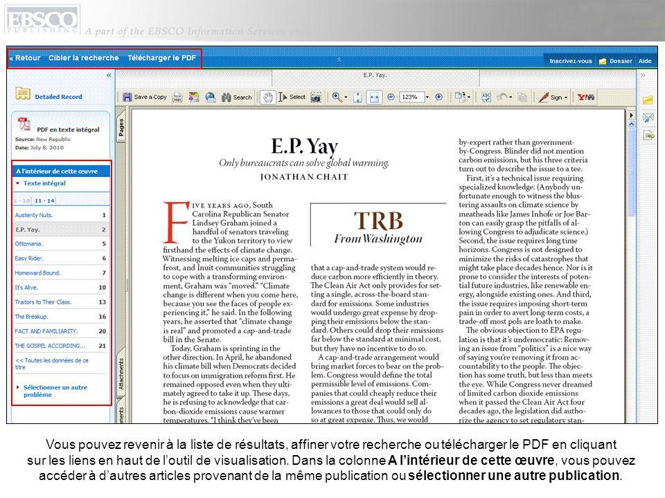 Vous pouvez revenir à la liste de résultats, affiner votre recherche ou télécharger le PDF en cliquant sur les liens en haut de loutil de visualisatio