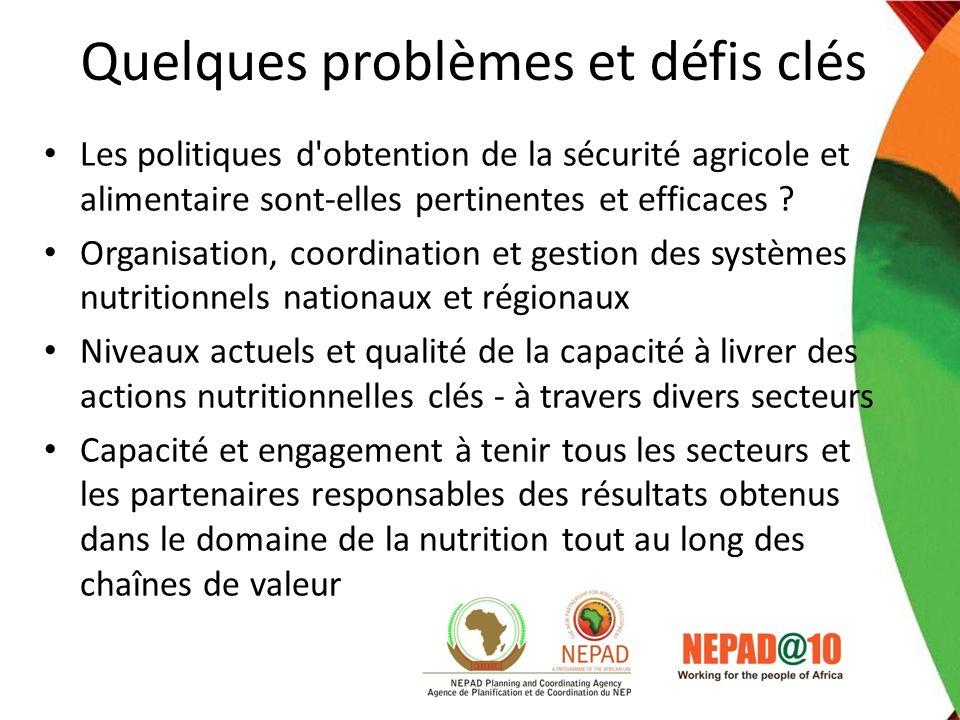 Quelques problèmes et défis clés Les politiques d'obtention de la sécurité agricole et alimentaire sont-elles pertinentes et efficaces ? Organisation,