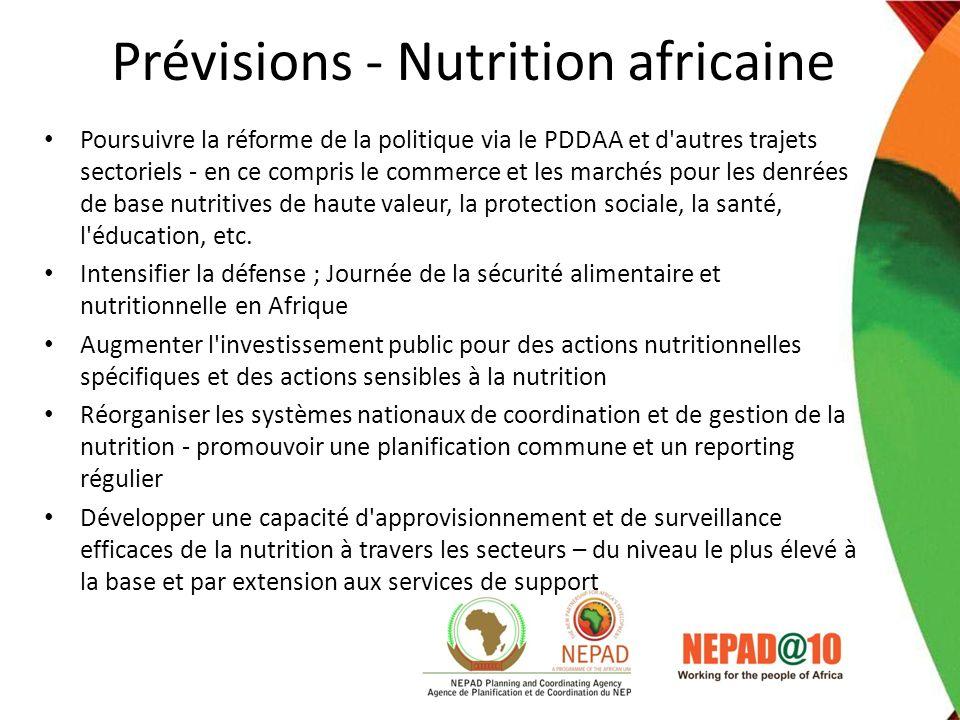 Prévisions - Nutrition africaine Poursuivre la réforme de la politique via le PDDAA et d'autres trajets sectoriels - en ce compris le commerce et les
