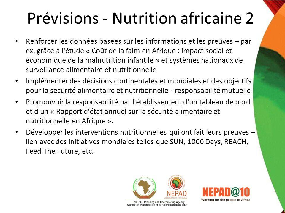 Prévisions - Nutrition africaine 2 Renforcer les données basées sur les informations et les preuves – par ex. grâce à l'étude « Coût de la faim en Afr
