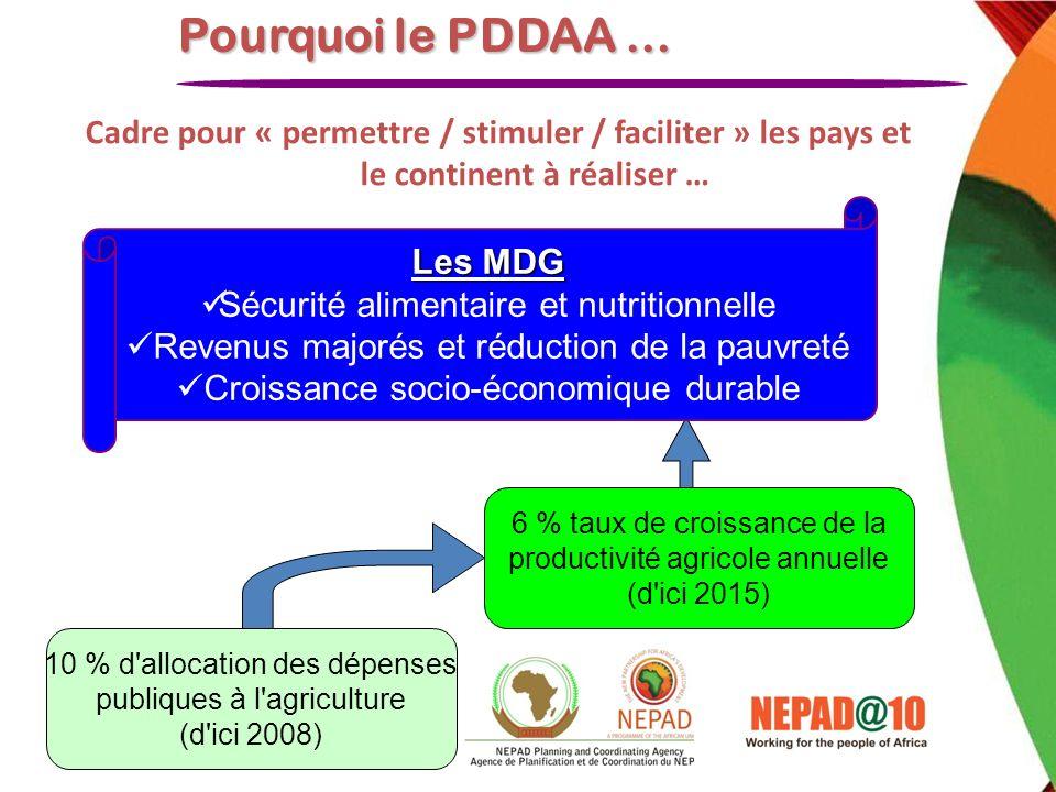 Cadre pour « permettre / stimuler / faciliter » les pays et le continent à réaliser … Pourquoi le PDDAA … Les MDG Sécurité alimentaire et nutritionnel
