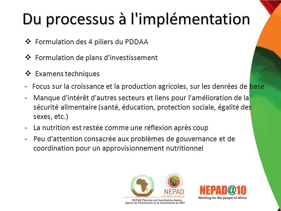 Du processus à l'implémentation Formulation des 4 piliers du PDDAA Formulation de plans d'investissement Examens techniques - Focus sur la croissance