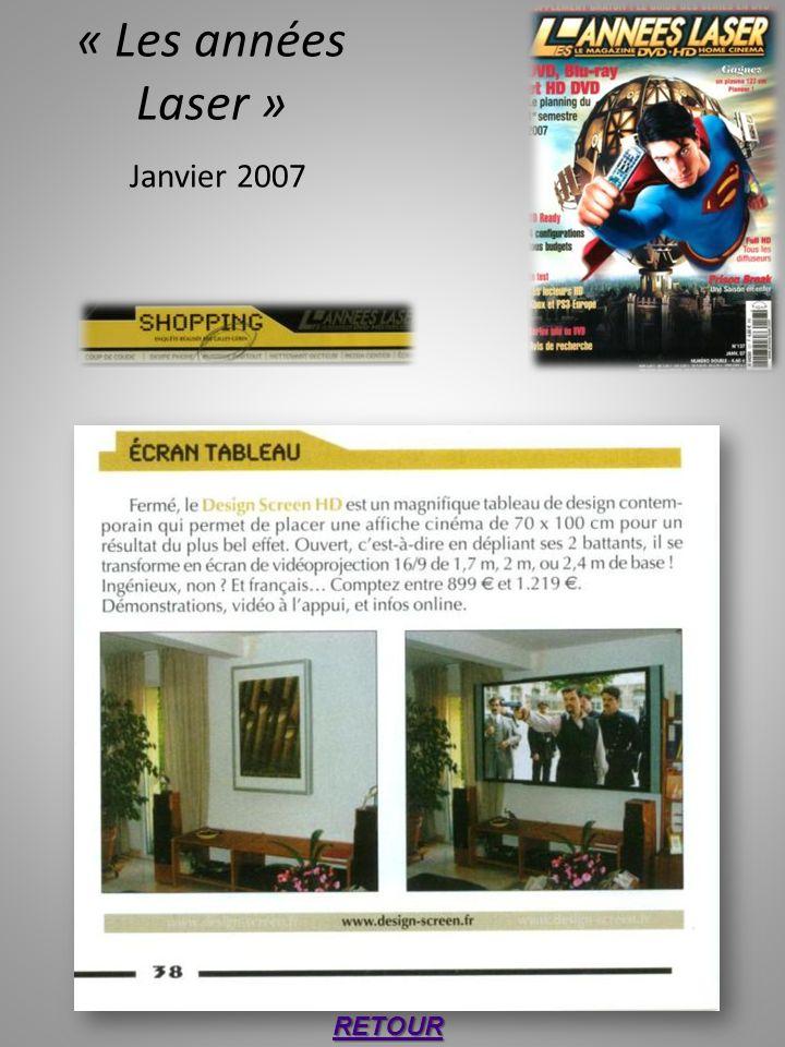 « Les années Laser » Janvier 2007 RETOUR