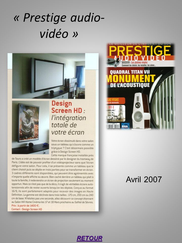 « Prestige audio- vidéo » RETOUR Avril 2007