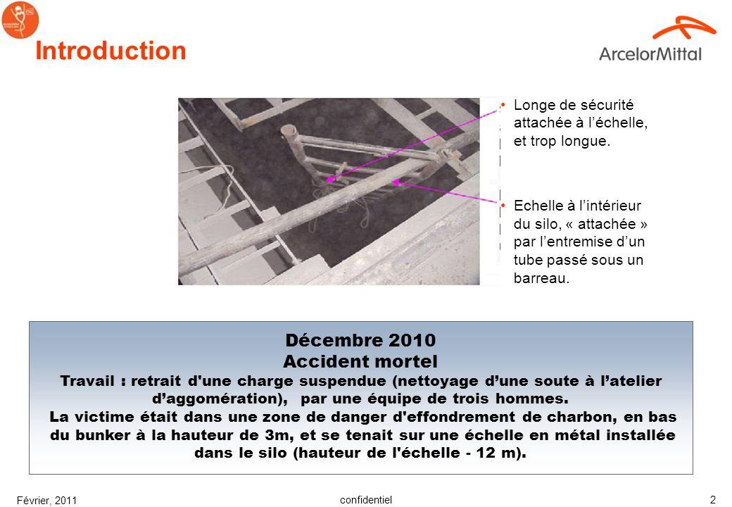 confidentiel Février, 2011 2 Introduction Décembre 2010 Accident mortel Travail : retrait d une charge suspendue (nettoyage dune soute à latelier daggomération), par une équipe de trois hommes.
