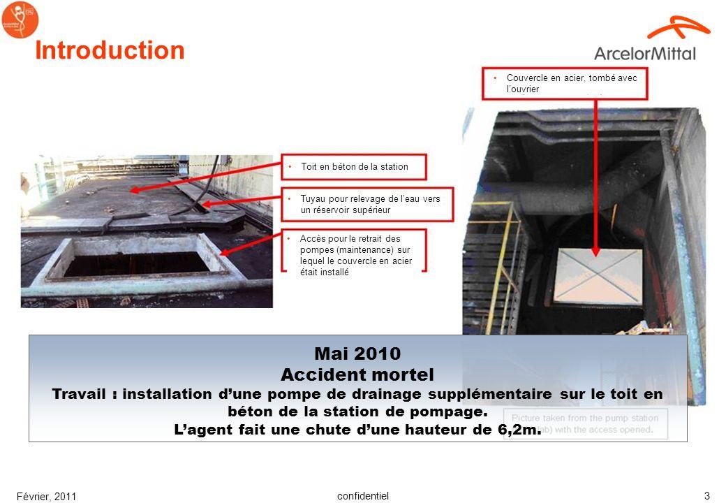 confidentiel Février, 2011 3 Mai 2010 Accident mortel Travail : installation dune pompe de drainage supplémentaire sur le toit en béton de la station de pompage.