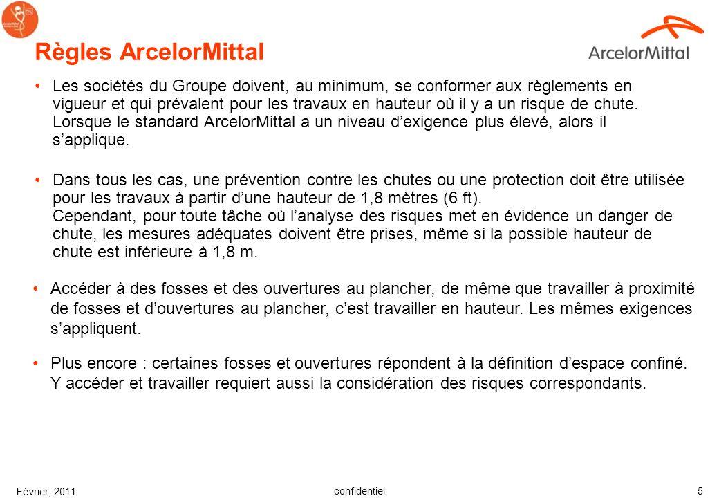 confidentiel Février, 2011 5 Règles ArcelorMittal Les sociétés du Groupe doivent, au minimum, se conformer aux règlements en vigueur et qui prévalent pour les travaux en hauteur où il y a un risque de chute.