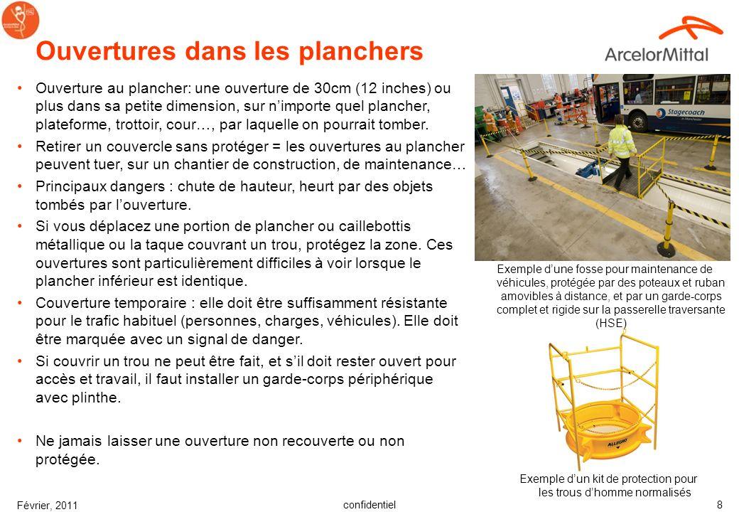 confidentiel Février, 2011 7 Choix de solutions Considérer la hierarchie des contrôles –Elimination –Substitution –Séparation / Contrôle par Engineeri