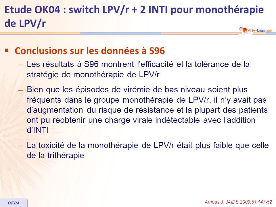 Conclusions sur les données à S96 –Les résultats à S96 montrent lefficacité et la tolérance de la stratégie de monothérapie de LPV/r –Bien que les épi