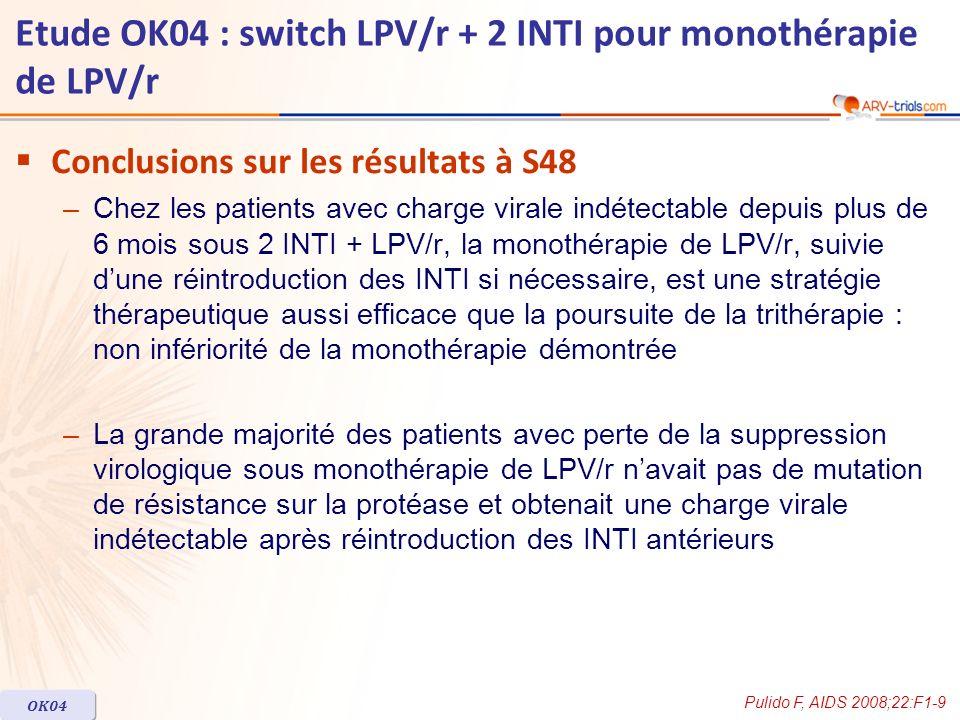 Conclusions sur les résultats à S48 –Chez les patients avec charge virale indétectable depuis plus de 6 mois sous 2 INTI + LPV/r, la monothérapie de L