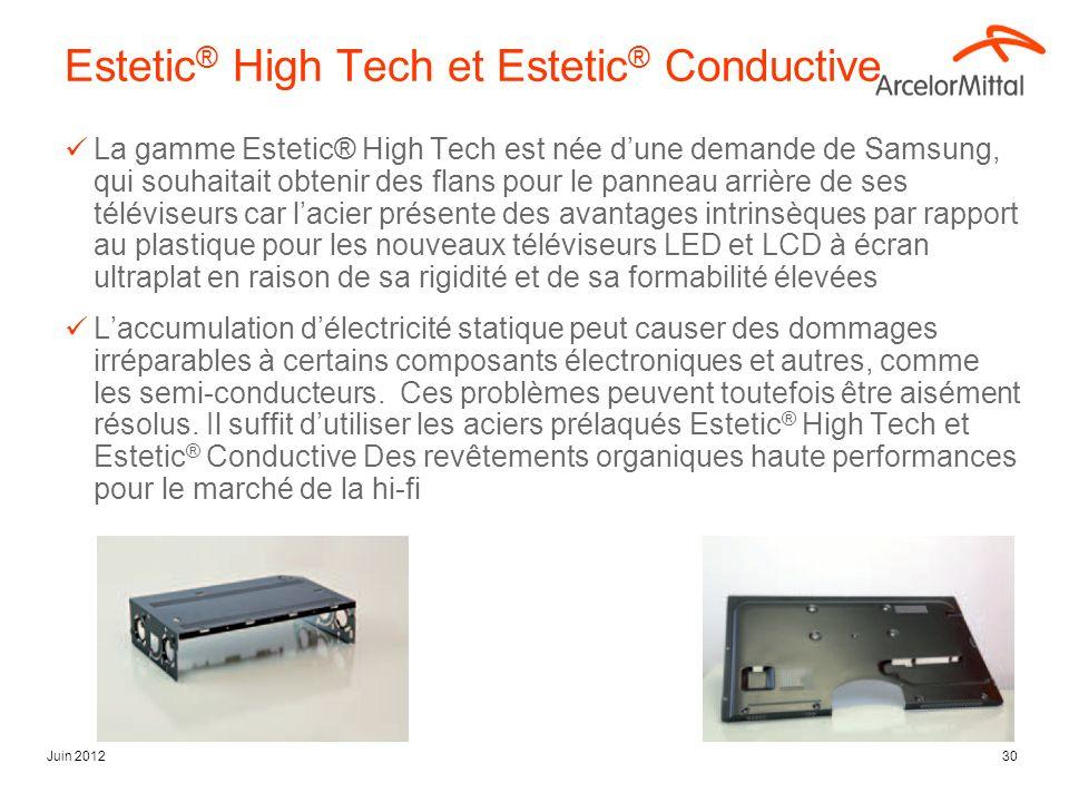 Juin 201230 Estetic ® High Tech et Estetic ® Conductive La gamme Estetic® High Tech est née dune demande de Samsung, qui souhaitait obtenir des flans pour le panneau arrière de ses téléviseurs car lacier présente des avantages intrinsèques par rapport au plastique pour les nouveaux téléviseurs LED et LCD à écran ultraplat en raison de sa rigidité et de sa formabilité élevées Laccumulation délectricité statique peut causer des dommages irréparables à certains composants électroniques et autres, comme les semi-conducteurs.