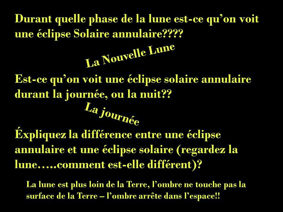 Durant quelle phase de la lune est-ce quon voit une éclipse Solaire annulaire???? Est-ce quon voit une éclipse solaire annulaire durant la journée, ou