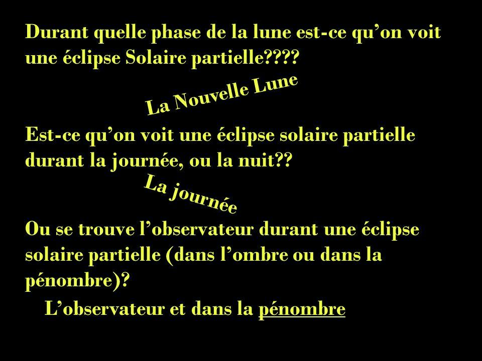 Durant quelle phase de la lune est-ce quon voit une éclipse Solaire partielle???? Est-ce quon voit une éclipse solaire partielle durant la journée, ou