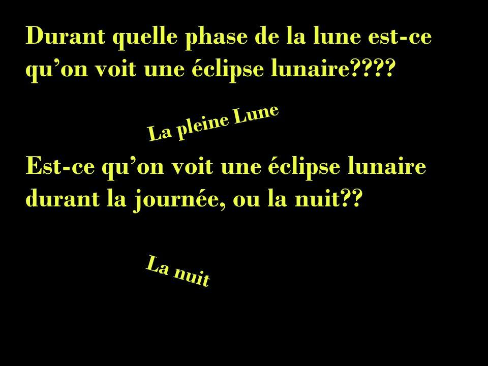 Durant quelle phase de la lune est-ce quon voit une éclipse lunaire???? Est-ce quon voit une éclipse lunaire durant la journée, ou la nuit?? La pleine