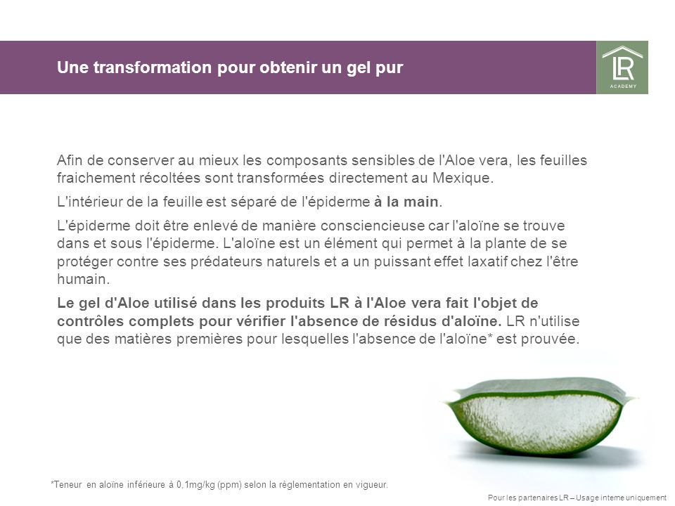 *Teneur en aloïne inférieure à 0,1mg/kg (ppm) selon la règlementation en vigueur. Une transformation pour obtenir un gel pur Afin de conserver au mieu