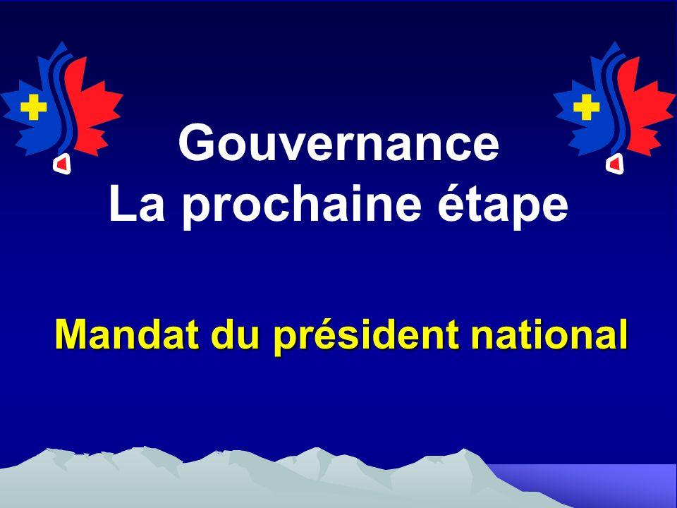 Gouvernance La prochaine étape Mandat du président national
