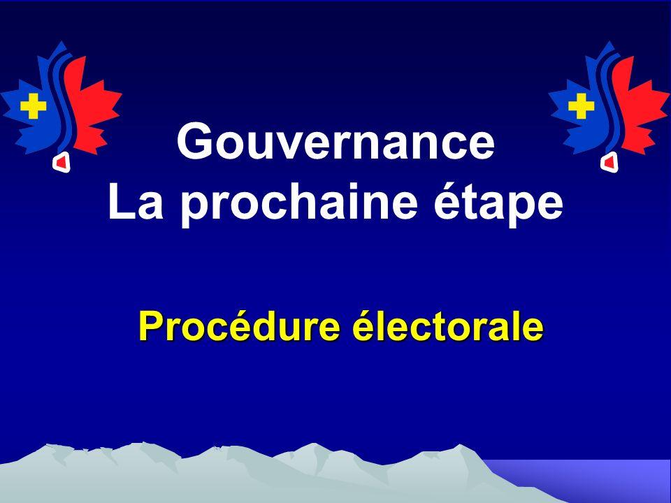 Gouvernance La prochaine étape Procédure électorale