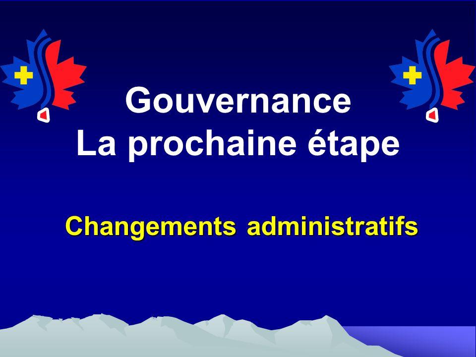 Gouvernance La prochaine étape Changements administratifs