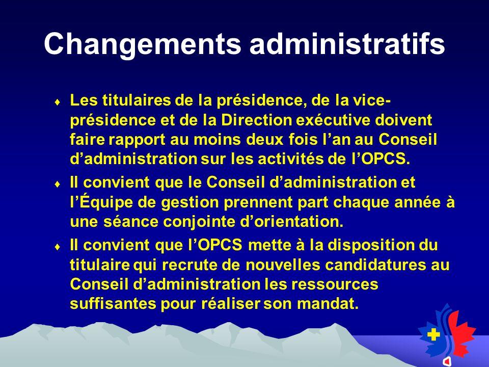 Changements administratifs Les titulaires de la présidence, de la vice- présidence et de la Direction exécutive doivent faire rapport au moins deux fois lan au Conseil dadministration sur les activités de lOPCS.