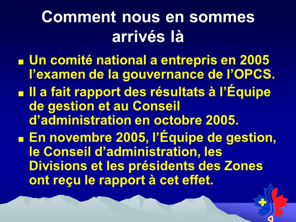 Un comité national a entrepris en 2005 lexamen de la gouvernance de lOPCS.