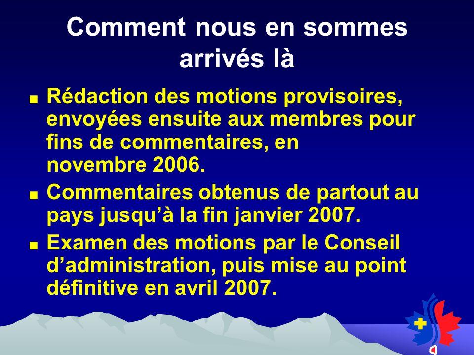 Comment nous en sommes arrivés là Rédaction des motions provisoires, envoyées ensuite aux membres pour fins de commentaires, en novembre 2006.