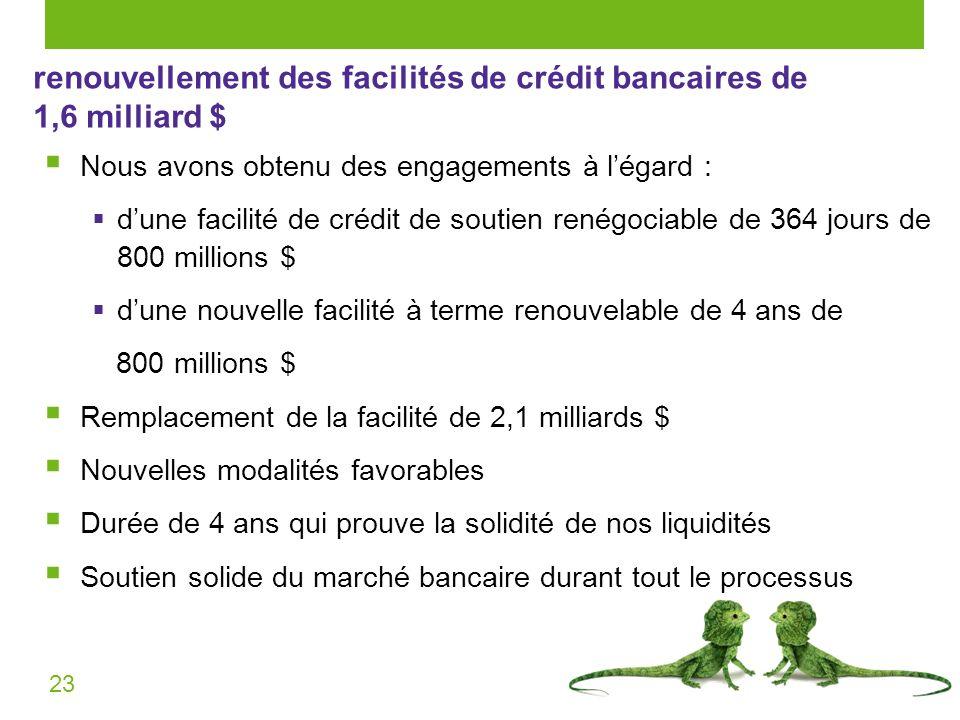 23 renouvellement des facilités de crédit bancaires de 1,6 milliard $ Nous avons obtenu des engagements à légard : dune facilité de crédit de soutien