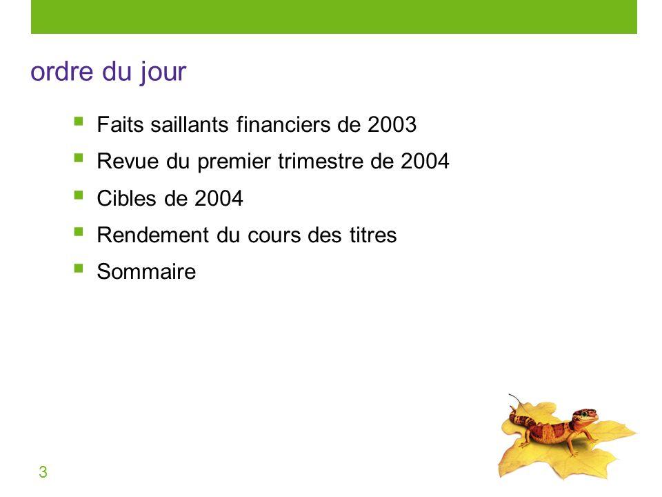 3 Faits saillants financiers de 2003 Revue du premier trimestre de 2004 Cibles de 2004 Rendement du cours des titres Sommaire ordre du jour