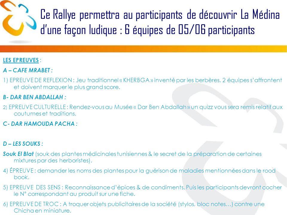 Ce Rallye permettra au participants de découvrir La Médina dune façon ludique : 6 équipes de 05/06 participants LES EPREUVES : A – CAFE MRABET : 1) EPREUVE DE REFLEXION : Jeu traditionnel « KHERBGA » inventé par les berbères.