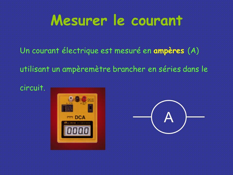 Mesurer le courant Un courant électrique est mesuré en ampères (A) utilisant un ampèremètre brancher en séries dans le circuit. A