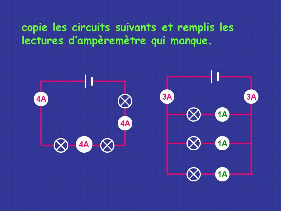 copie les circuits suivants et remplis les lectures dampèremètre qui manque. ? ? 4A 3A? ? 1A ? 3A 1A