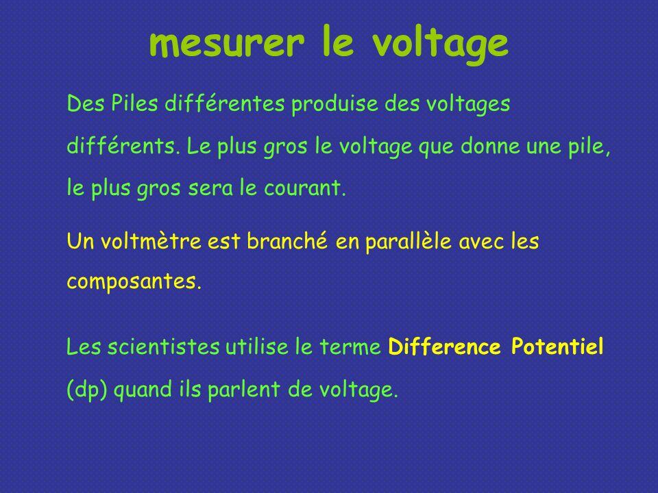 Des Piles différentes produise des voltages différents. Le plus gros le voltage que donne une pile, le plus gros sera le courant. mesurer le voltage U