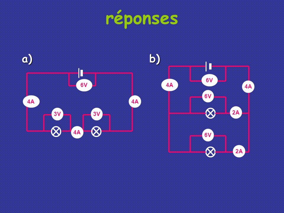 réponses 3V 6V 4A 6V 4A 2A 4A a)b)
