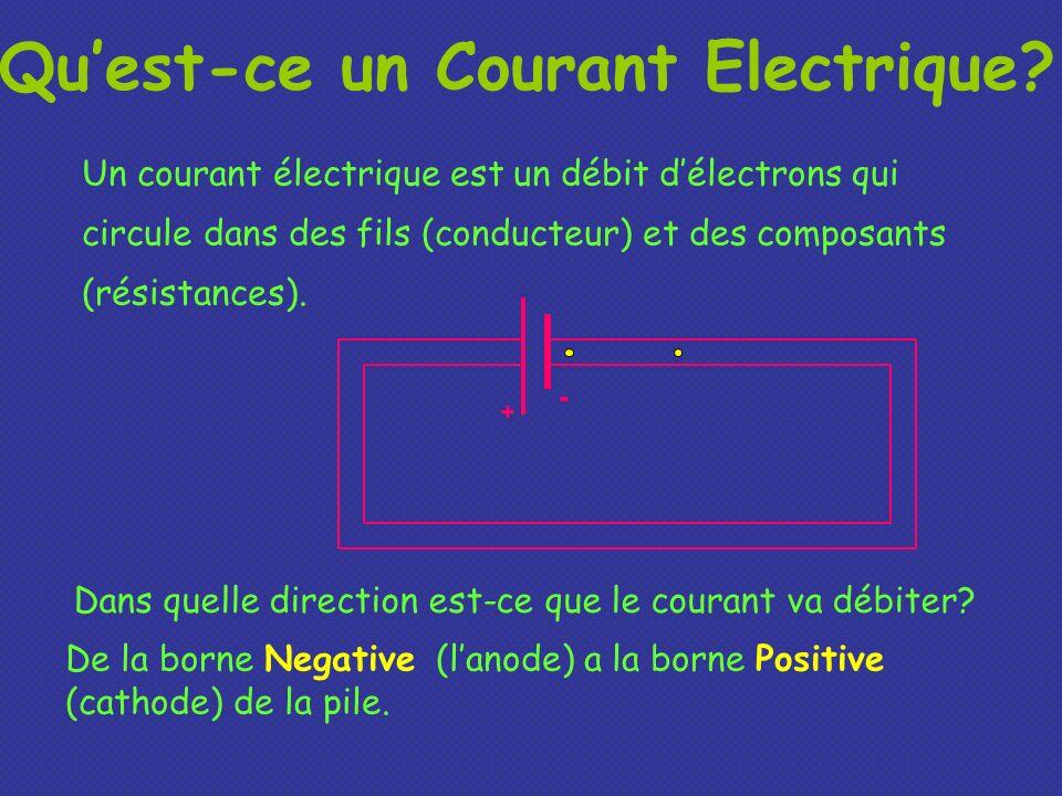 Quest-ce un Courant Electrique? Un courant électrique est un débit délectrons qui circule dans des fils (conducteur) et des composants (résistances).