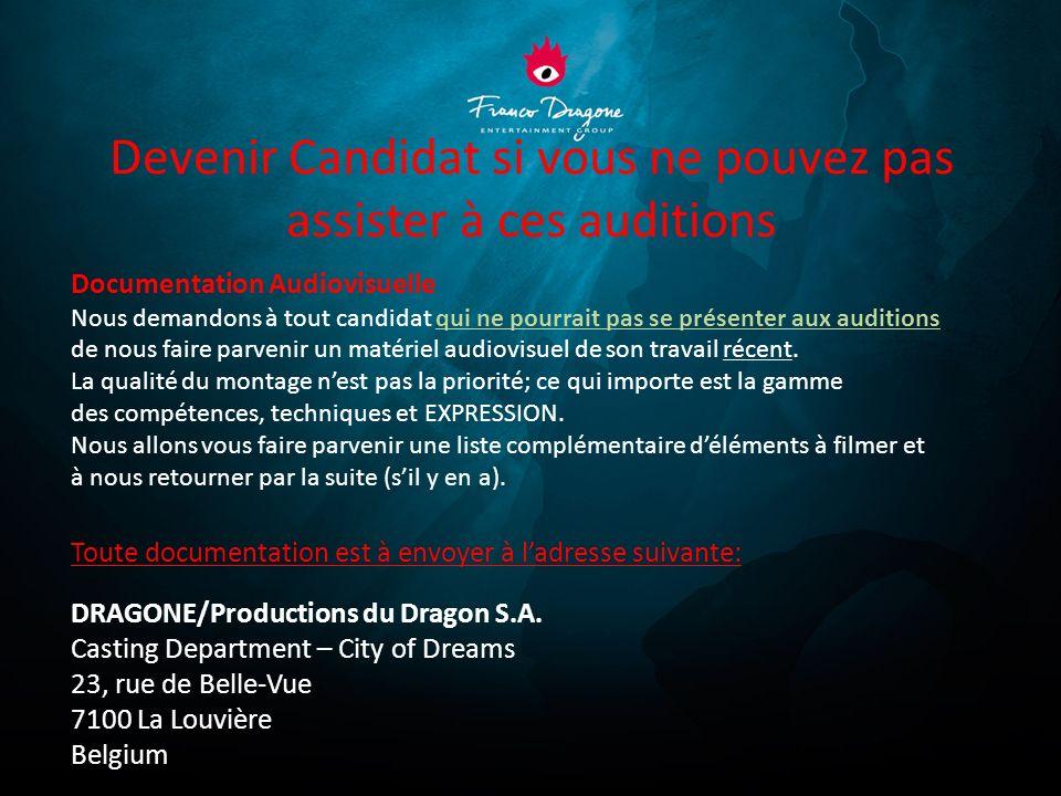 Sites web : www.dragone.be www.thehouseofdancingwater.com Contact : casting@dragone.becasting@dragone.be