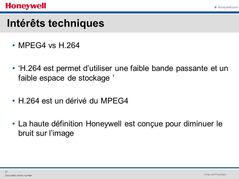 Honeywell Proprietary Honeywell.com 21 Document control number MPEG4 vs H.264 H.264 est permet dutiliser une faible bande passante et un faible espace
