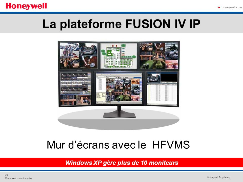 Honeywell Proprietary Honeywell.com 30 Document control number Mur décrans avec le HFVMS Windows XP gère plus de 10 moniteurs La plateforme FUSION IV
