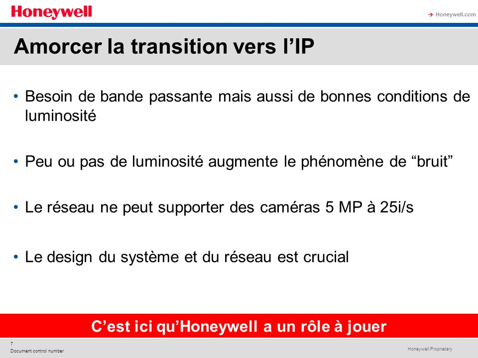 Honeywell Proprietary Honeywell.com 7 Document control number Besoin de bande passante mais aussi de bonnes conditions de luminosité Peu ou pas de lum
