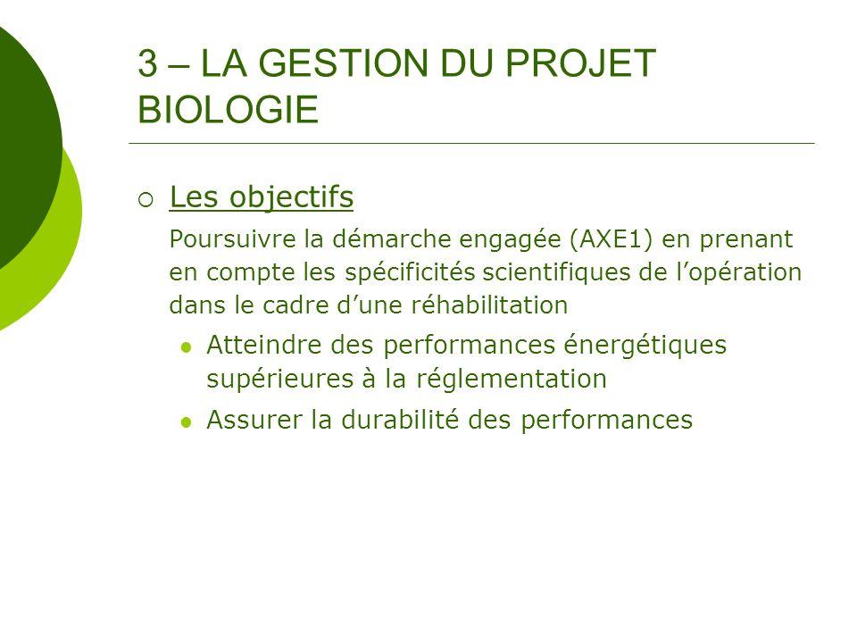 3 – LA GESTION DU PROJET BIOLOGIE Les objectifs Poursuivre la démarche engagée (AXE1) en prenant en compte les spécificités scientifiques de lopératio