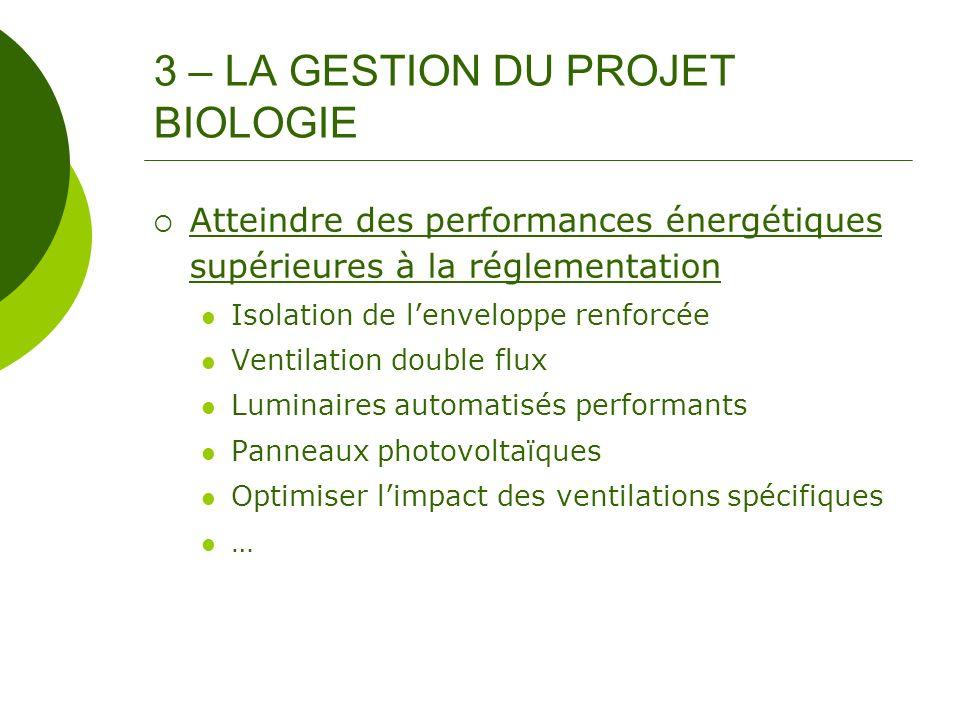3 – LA GESTION DU PROJET BIOLOGIE Atteindre des performances énergétiques supérieures à la réglementation Isolation de lenveloppe renforcée Ventilatio