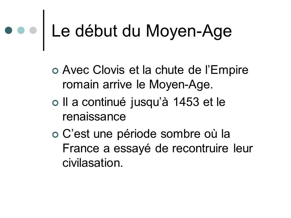 Le début du Moyen-Age Avec Clovis et la chute de lEmpire romain arrive le Moyen-Age. Il a continué jusquà 1453 et le renaissance Cest une période somb
