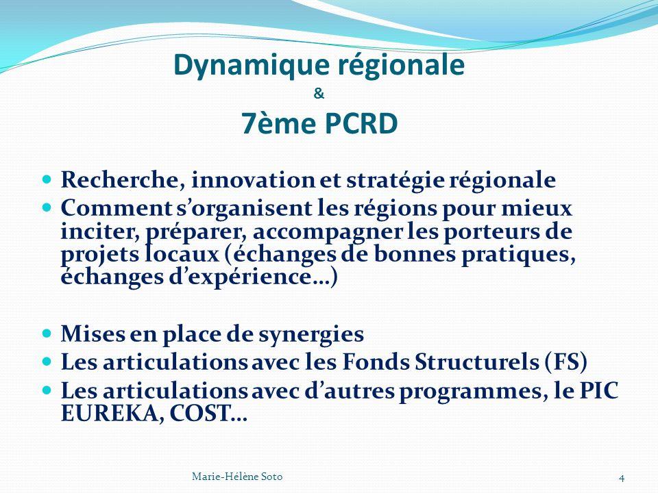 Dynamique régionale & 7ème PCRD Recherche, innovation et stratégie régionale Comment sorganisent les régions pour mieux inciter, préparer, accompagner