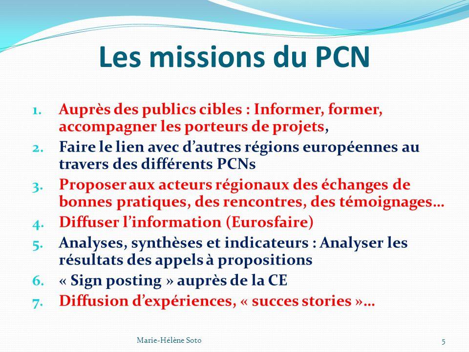 Les missions du PCN 1. Auprès des publics cibles : Informer, former, accompagner les porteurs de projets, 2. Faire le lien avec dautres régions europé