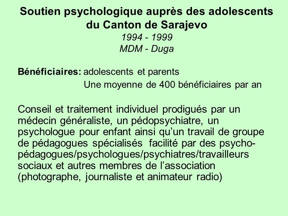 Soutien psychologique auprès des adolescents du Canton de Sarajevo 1994 - 1999 MDM - Duga Bénéficiaires: adolescents et parents Une moyenne de 400 bén