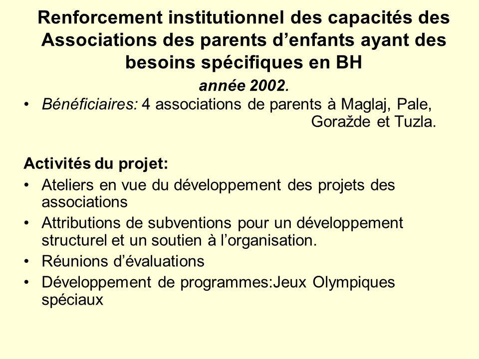 Renforcement institutionnel des capacités des Associations des parents denfants ayant des besoins spécifiques en BH année 2002. Bénéficiaires: 4 assoc